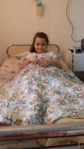 A patient and her quilt.